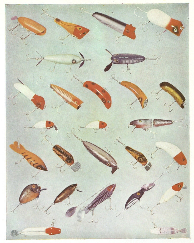 Items similar to vintage fishing lures book plate plug for Different types of fishing lures
