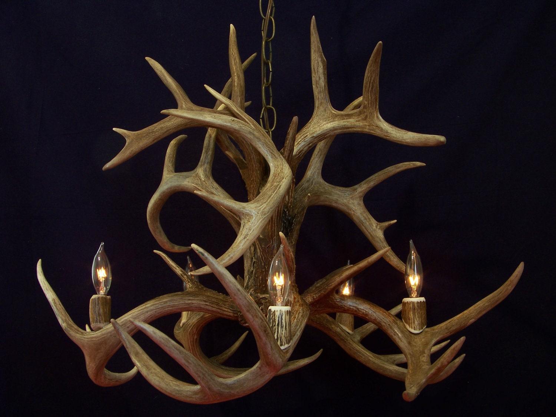 designs fountain whitetail deer antler chandelier light lamp. Black Bedroom Furniture Sets. Home Design Ideas
