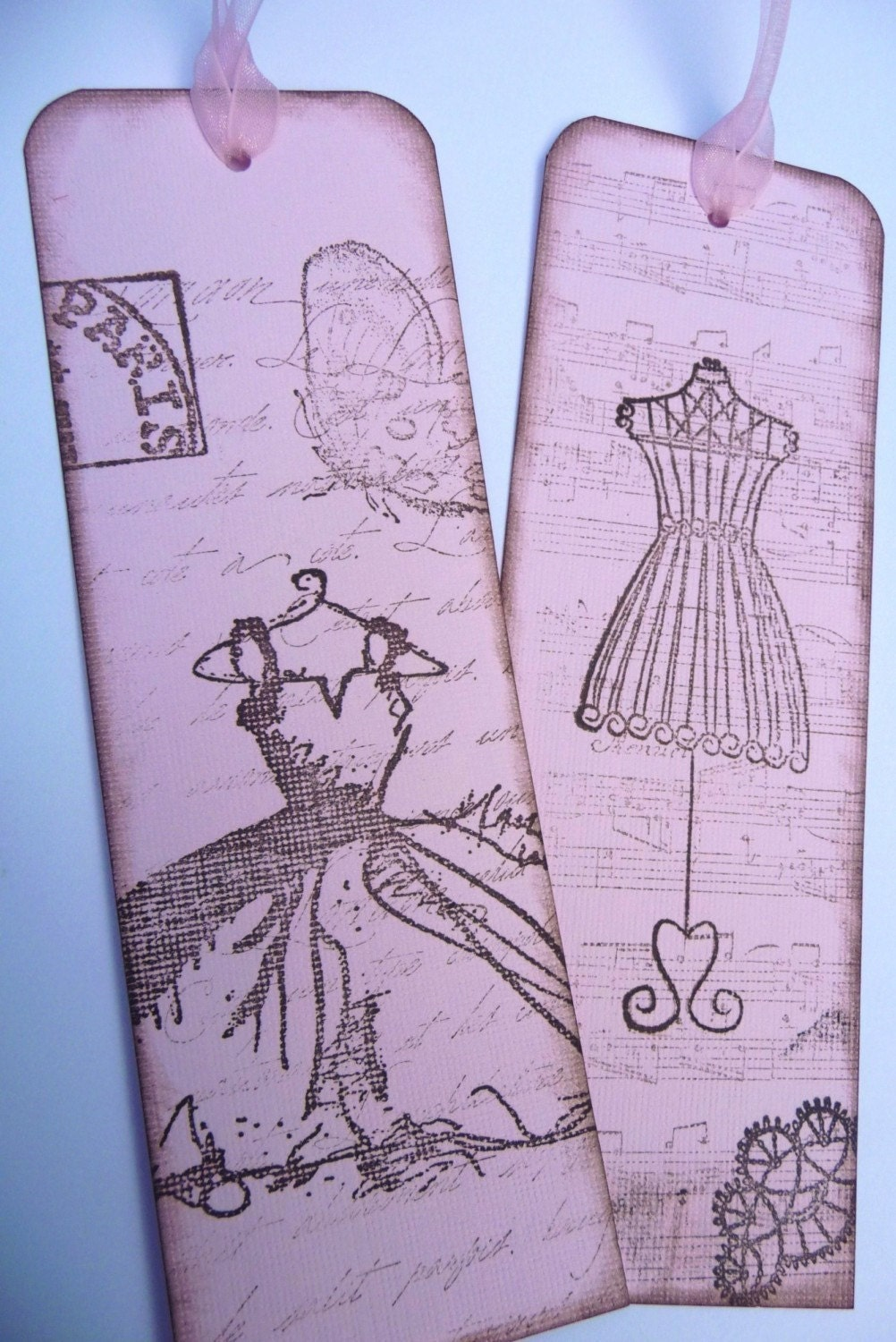 Vintage style  french inspired PARIS shabby chic BOOK MARKS or large tags