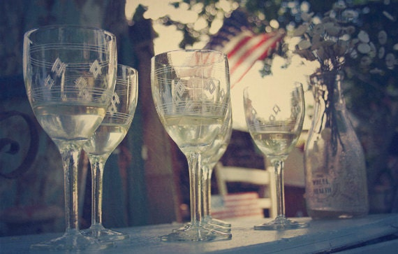 Wine glass photograph, Wine glasses with rainwater, Still life of pretty glasses on a blue table, Stemware, American Flag