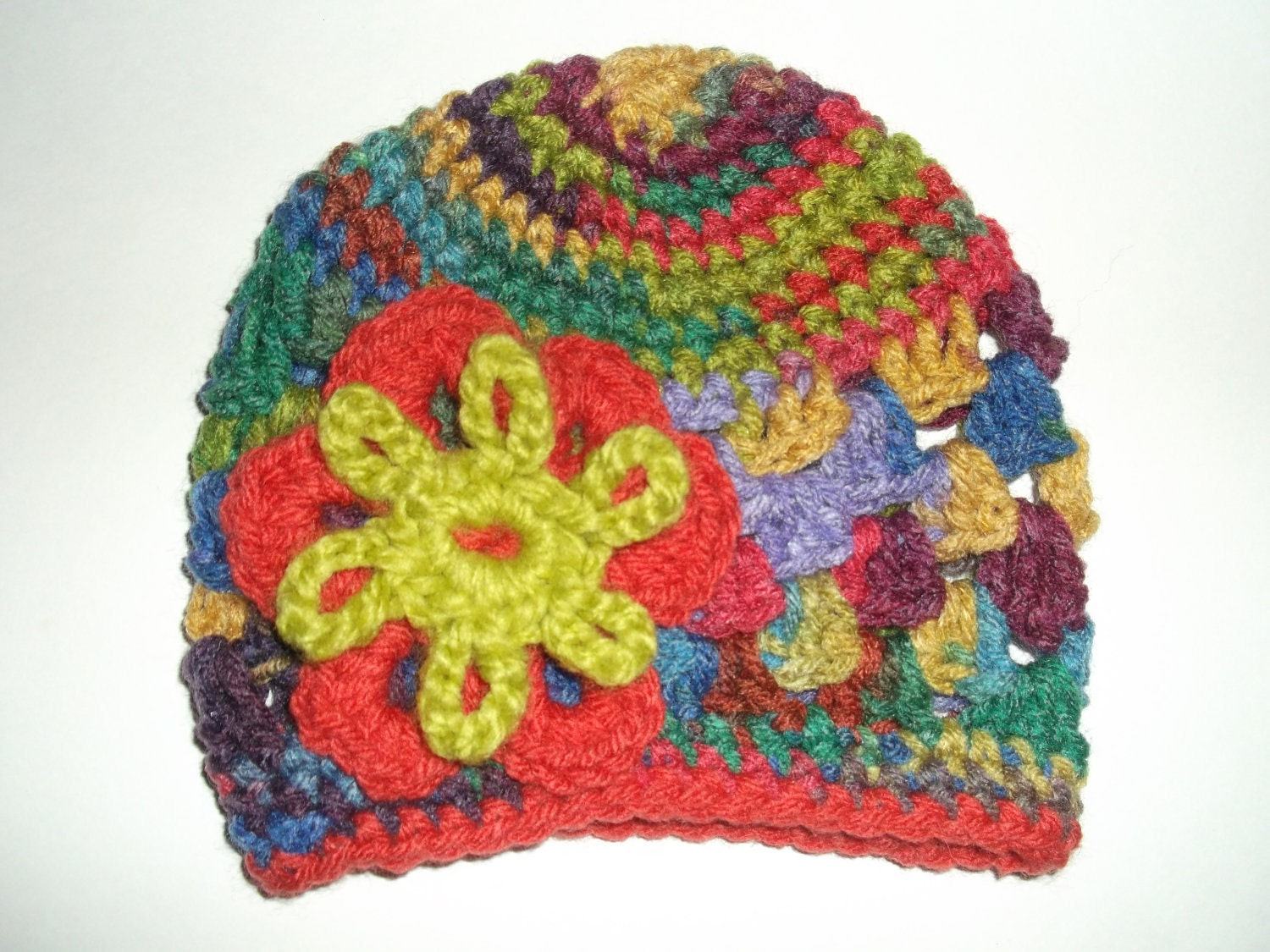 Baby Crochet Beanie Hat - Blossom Hat - 3-6 months - Crayon pack colors :)