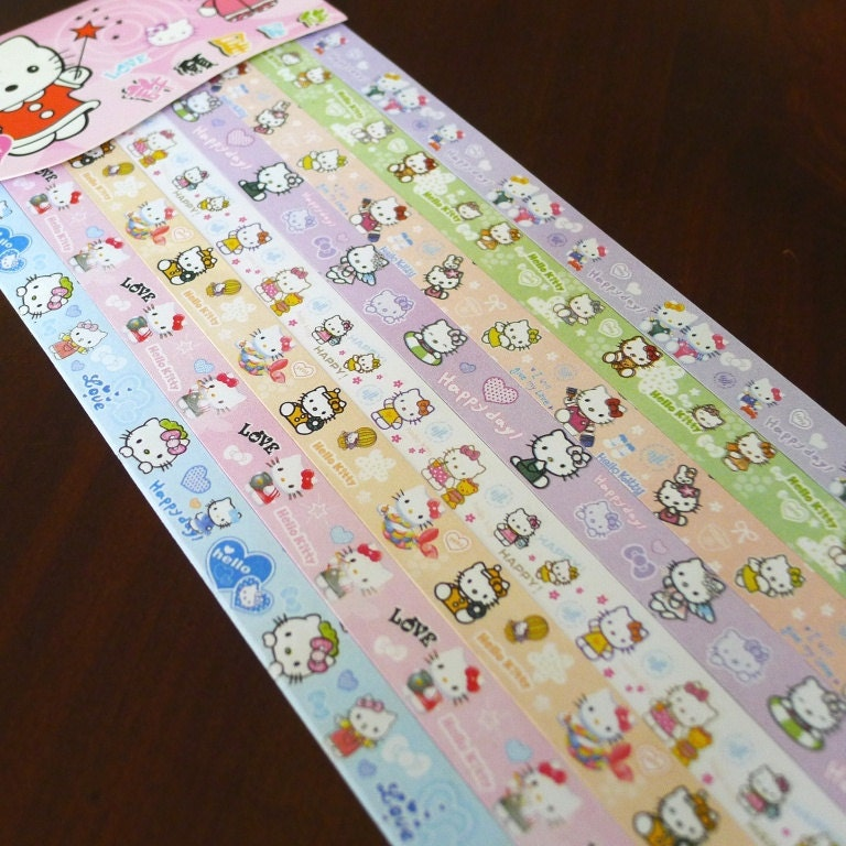 Hello kitty origami lucky star folding paper part by for Lucky star folding