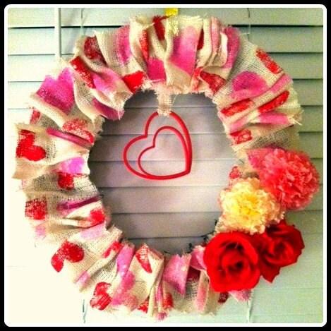 Hand Stamped Burlap Valentine's Wreath