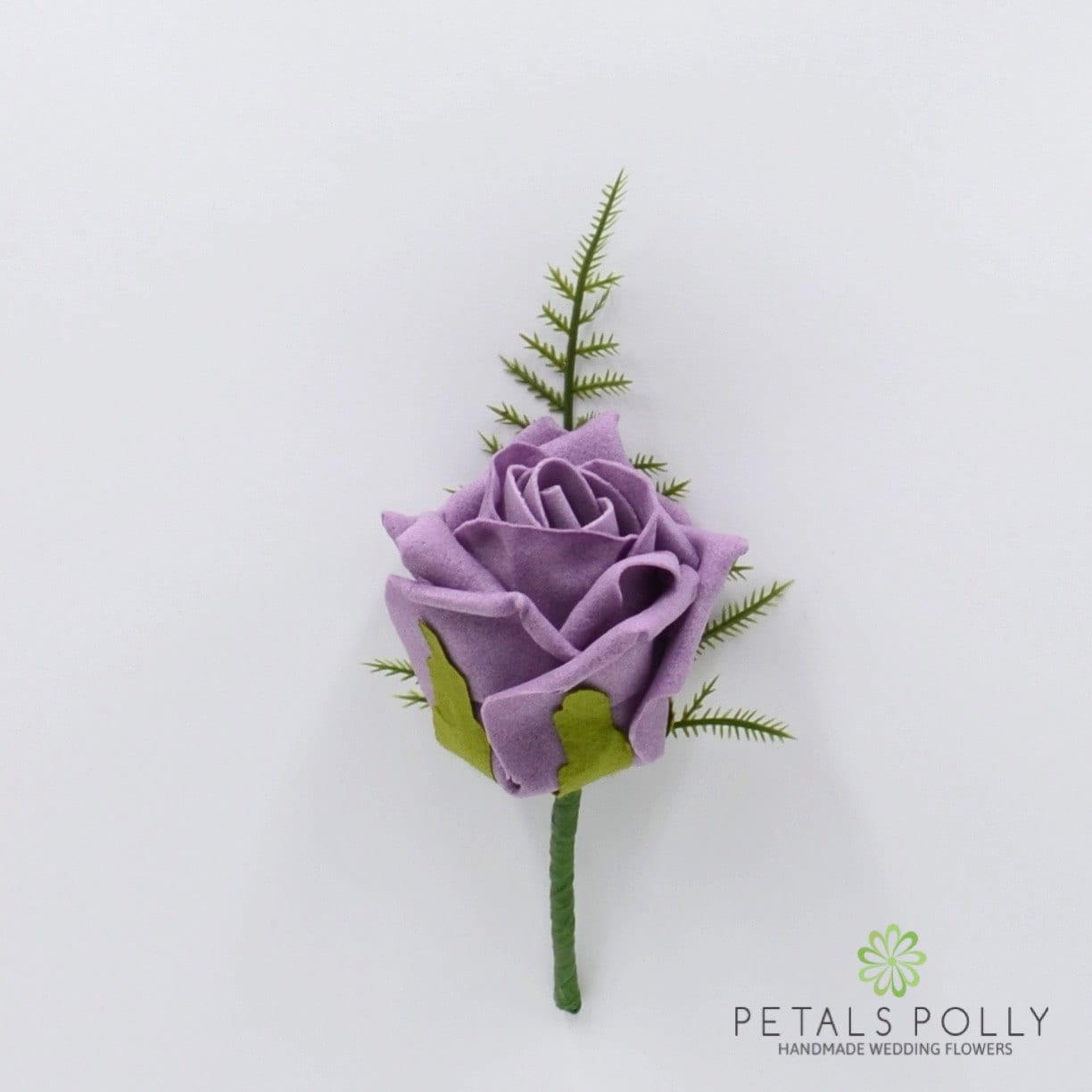 Artificial Wedding Flowers Lavender Foam Rose Buttonhole
