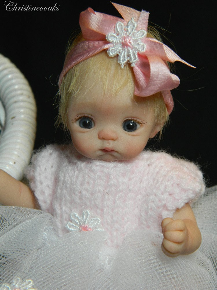 Ooak miniature polymer clay pose able baby doll
