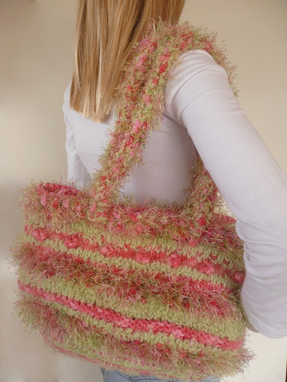 Hand knitted hand bag - green and pink tote -  One of a kind knitted bag - purse