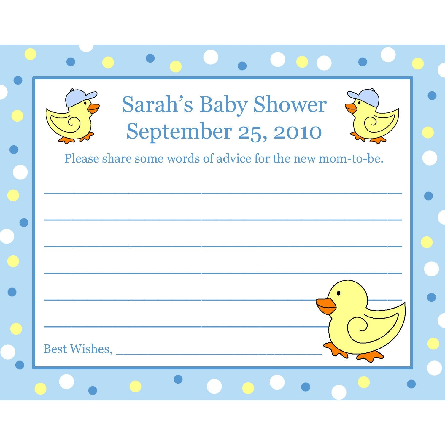 24 personalized baby shower advice cards rubber by partyplace