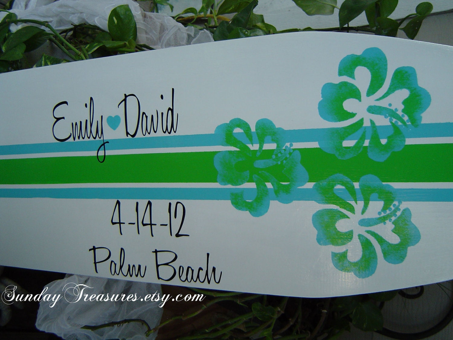 4FT Lime Green Turquoise SURFBOARD Beach Wedding Sign In Book Board