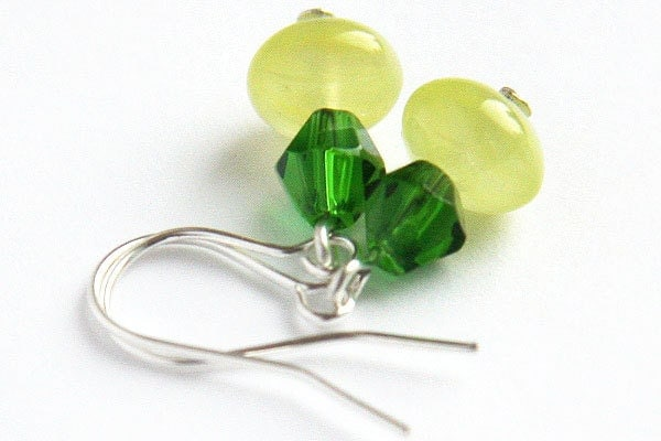 Fresh Spring Green Earrings. Apple Green Glass Beads. Sterling Silver. Simple Everyday Jewelry Ready for Ship. Handmade in Canada TAGT