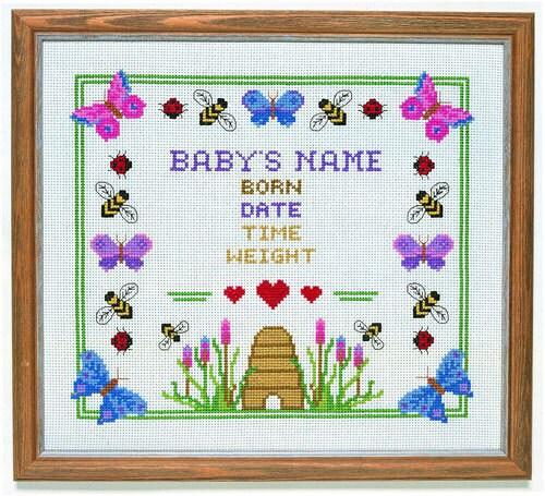 CSM 551 Honey Bee Birth Sampler Counted Cross Stitch Kit