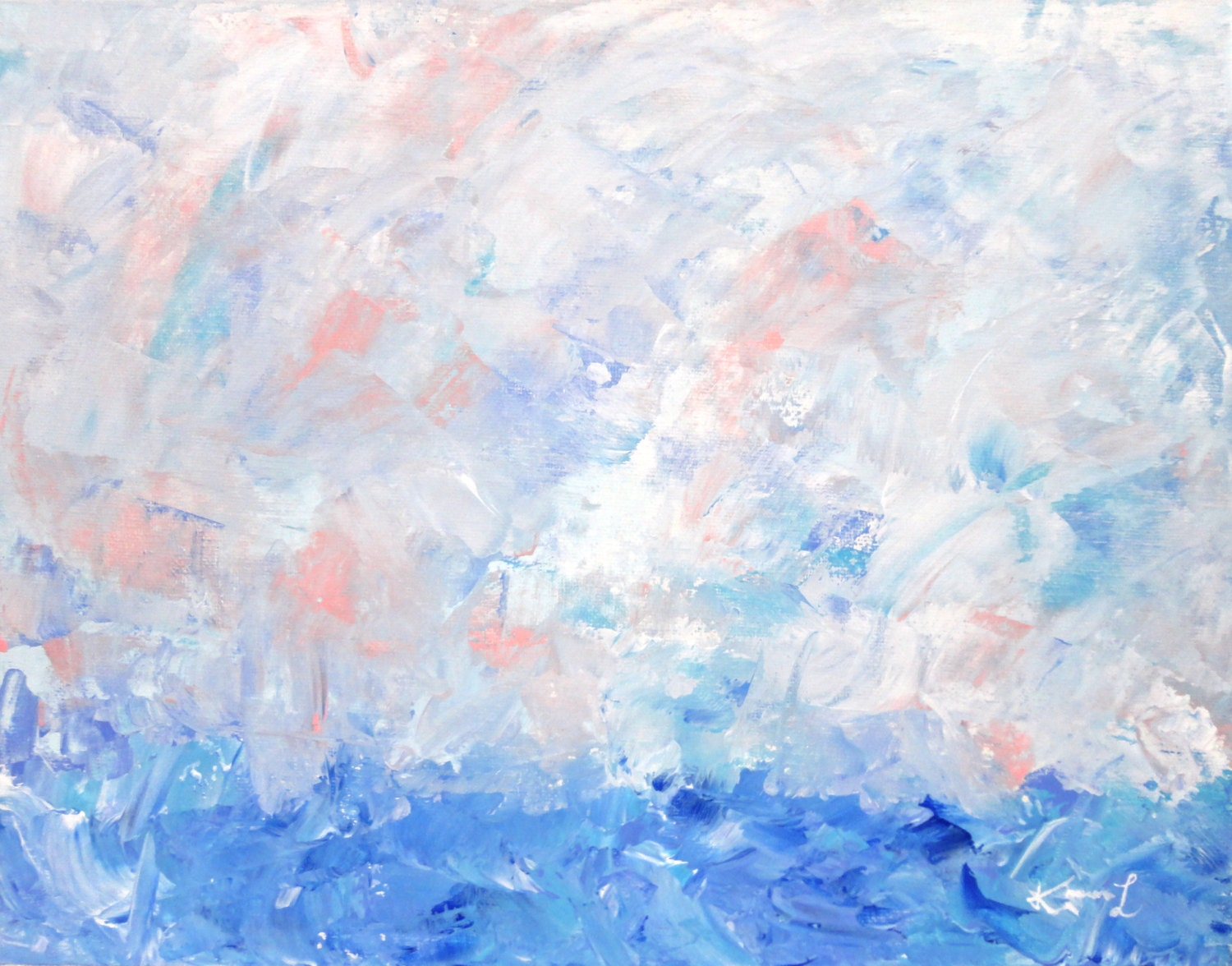 Seascape Original Art Acrylic on Canvas Board Landscape Painting Blue Pink Abstract Artwork - KamaraLarryStudio