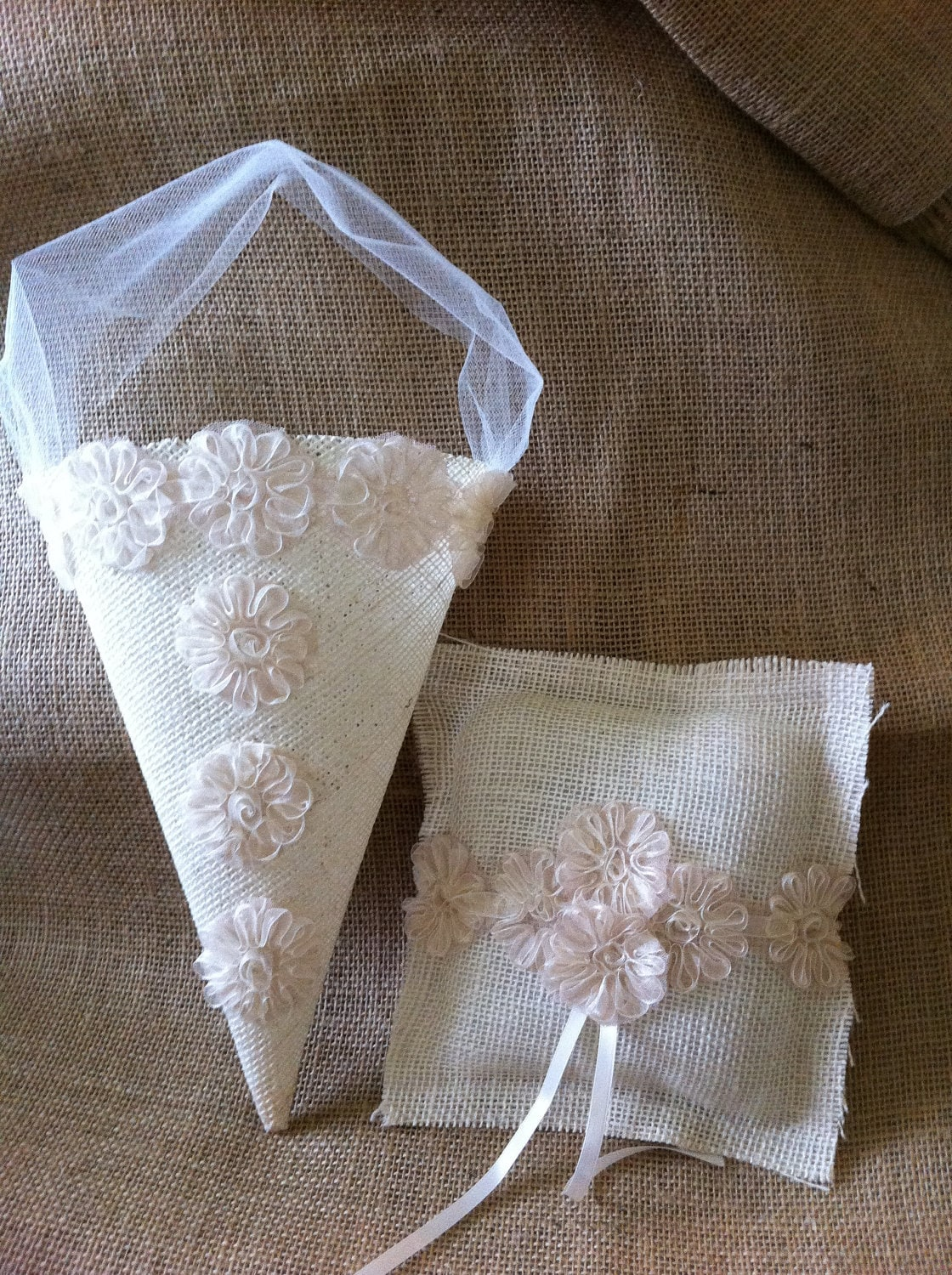 Flower Girl Baskets And Matching Ring Bearer Pillows : Items similar to flower girl ring bearer cone basket and