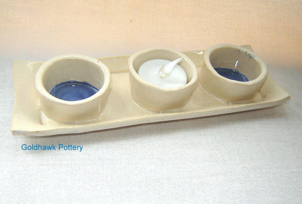 Blue and White Votive Candle Holder or condiments dish