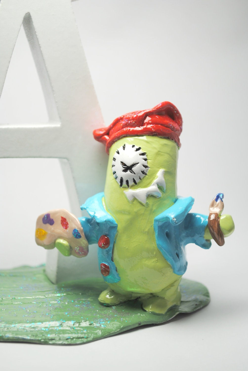 Alphabet letter A Monster Sculpture