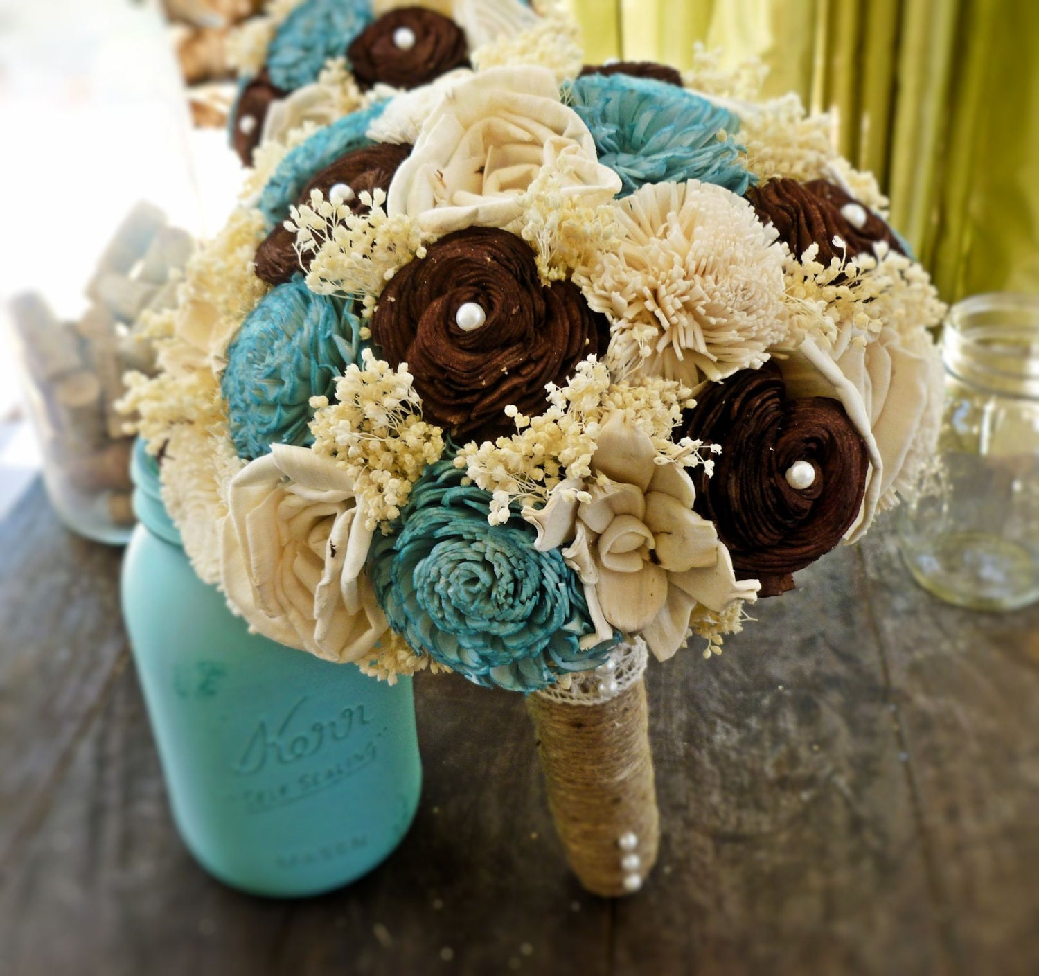 Blue Brown Wedding Bouquets : Unavailable listing on etsy