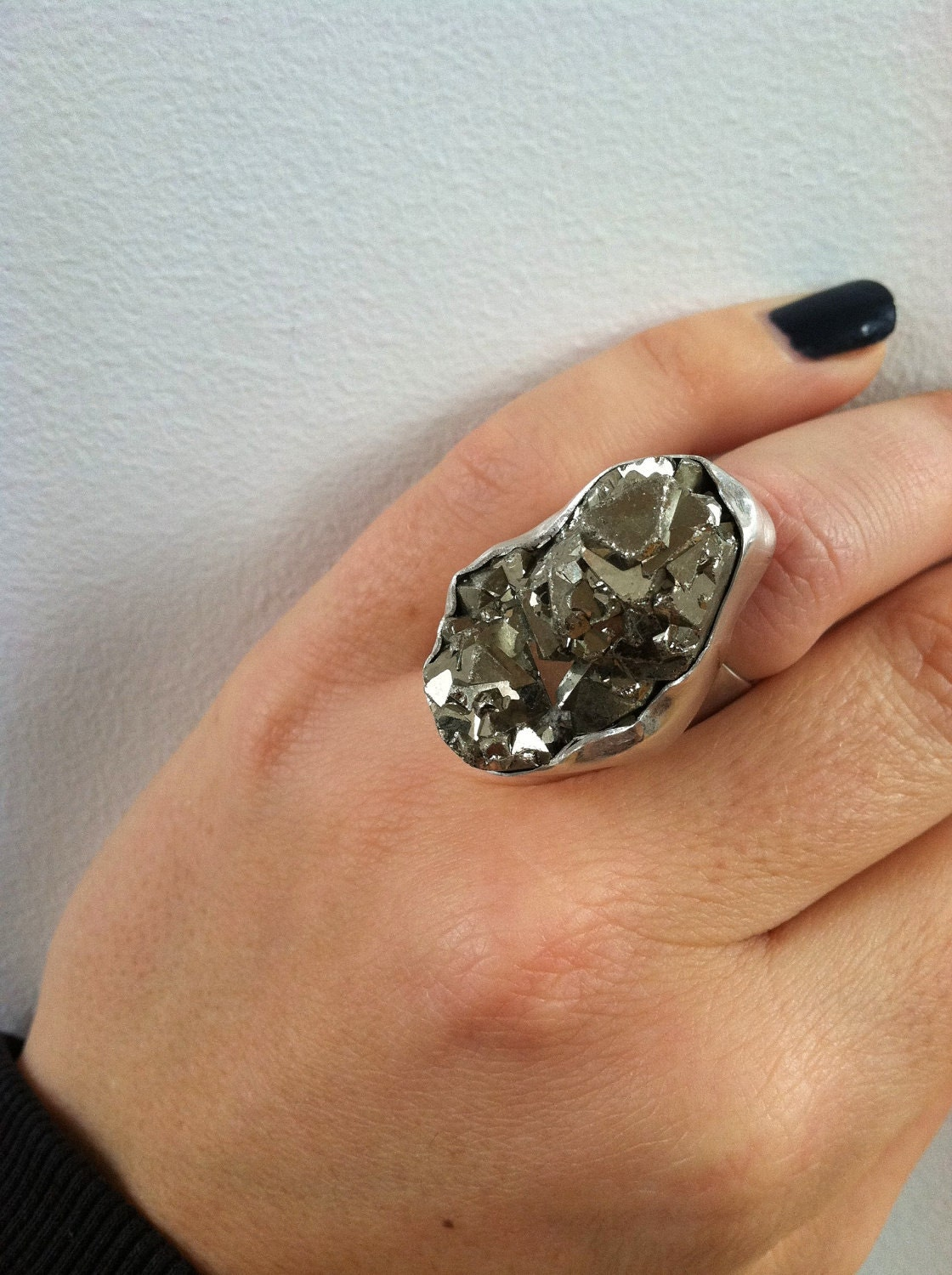 Pyrite Chunk and Sterling Silver Ring