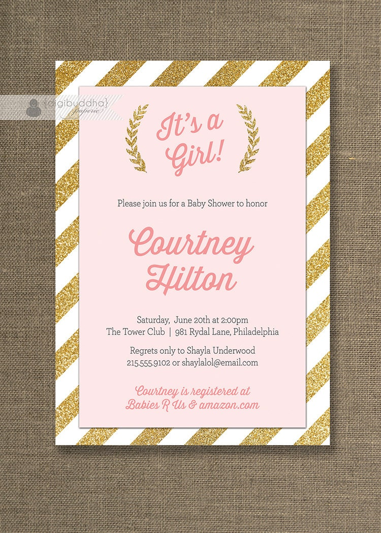 pink gold baby shower invitation gold glitter stripes it 39 s a girl