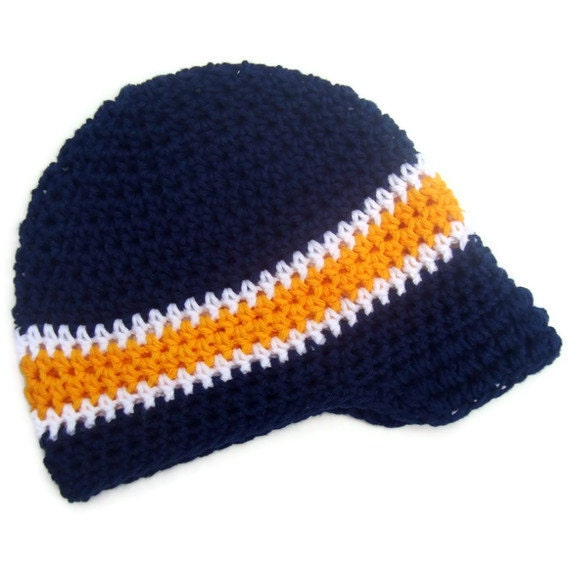 Baby/Infant/Toddler/Boys Visor Beanie-Navy Blue, Gold and White-MADE TO ORDER - Karenisa