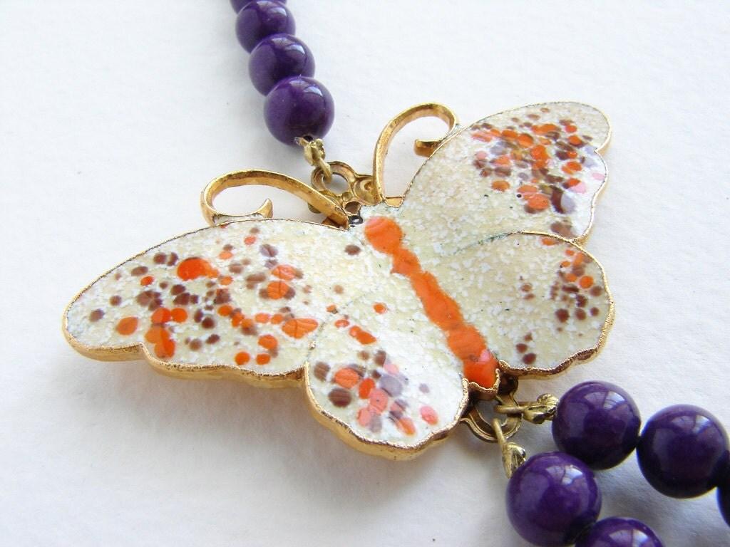 Vintage Butterfly Necklace, vintage enameled pumpkin ochre butterfly brooch, repurposed OOAK purple plum necklace