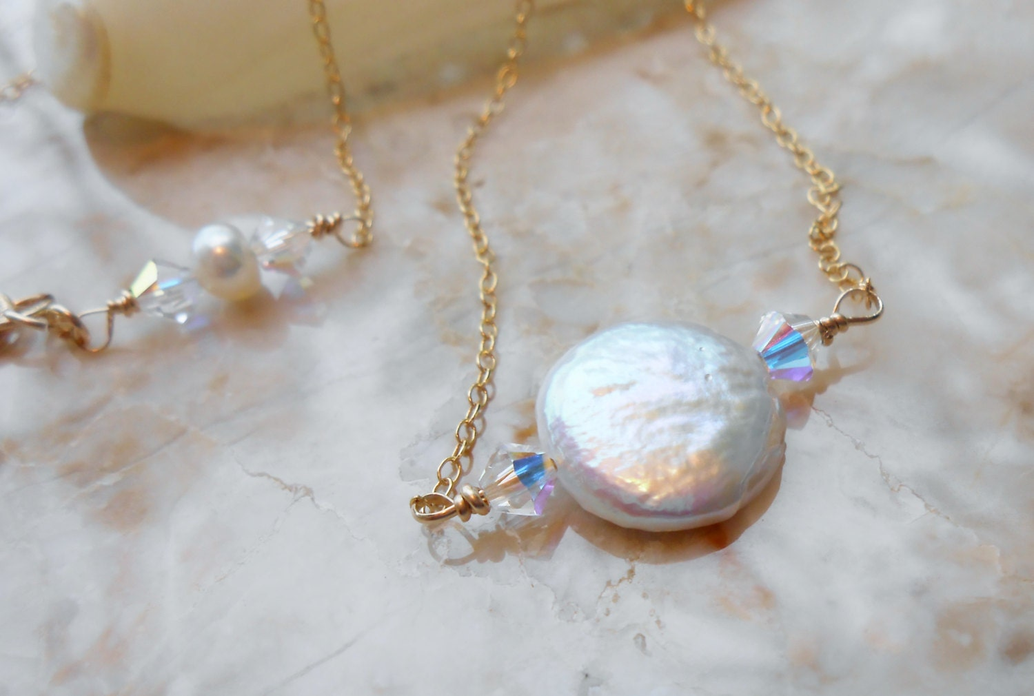 The Wedding Dream/ Bride/ Bridesmaids/ Minimalist White Cultured Freshwater Coin Shaped Pearls and Swarovski 14kt Gold Filled Necklace - IsamarML