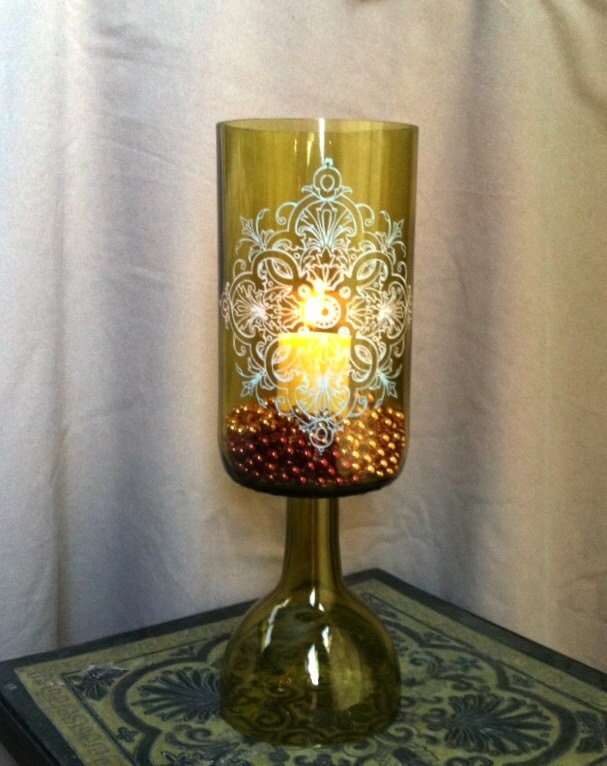 Wine Bottle Candle Holder Or Vase Ecofriendly By Roguefarms