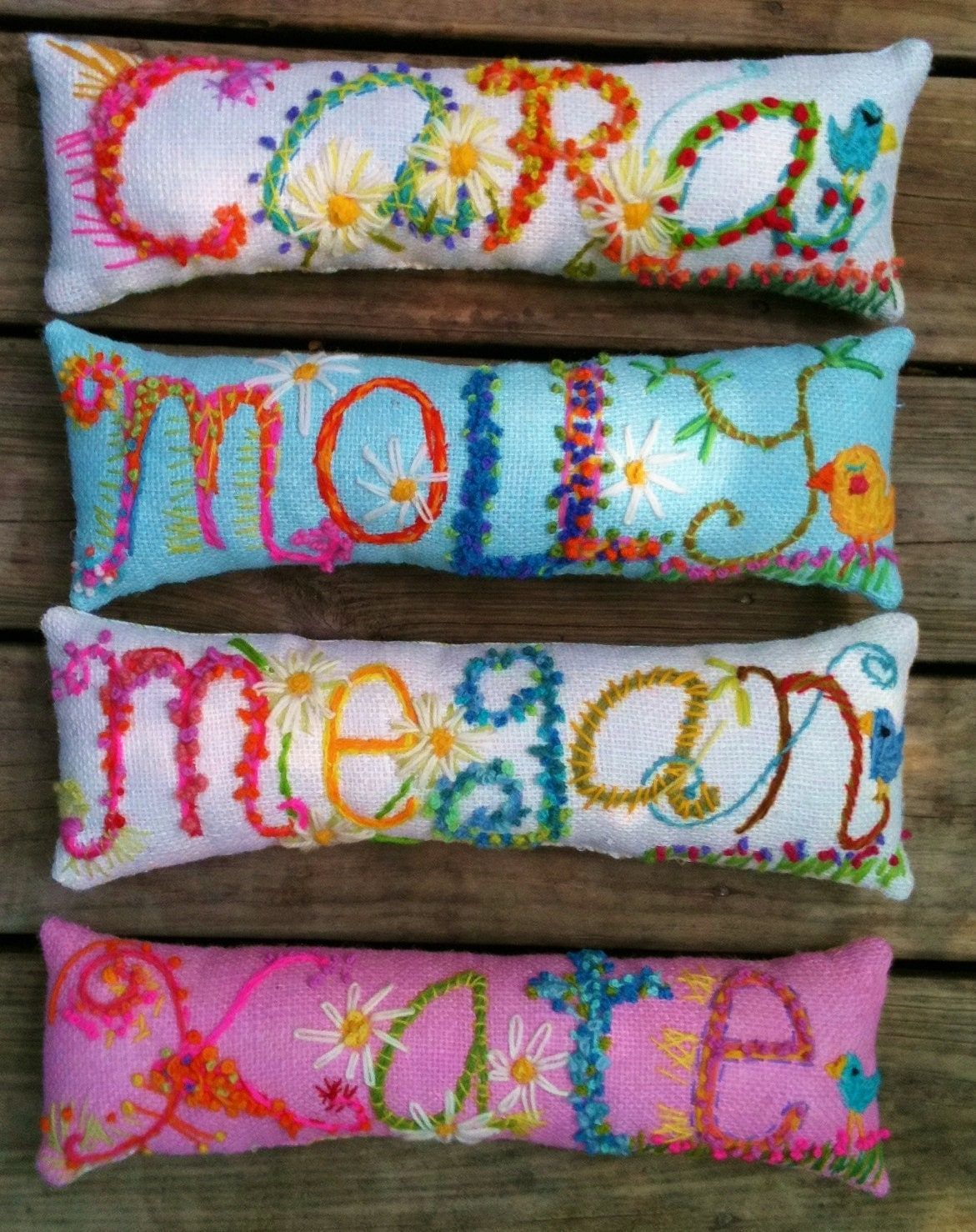 Freehand Embroidered Bohemian Letters Name Pillow Custom Made - YelliKelli
