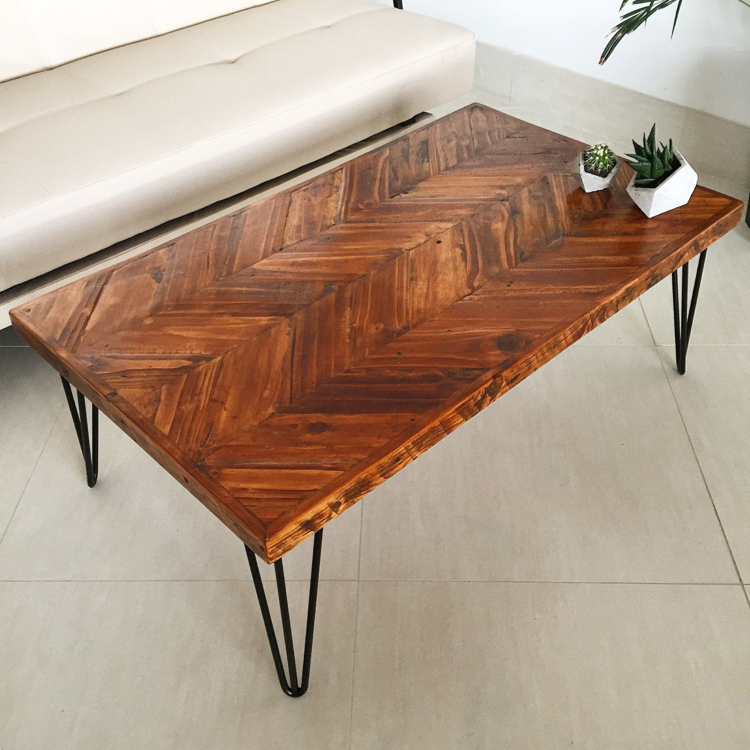 Reclaimed Wood Chevron Coffee Table  Chevron Coffee Table  Chevron Table  Reclaimed Wood Coffee Table  Industrial Coffee Table