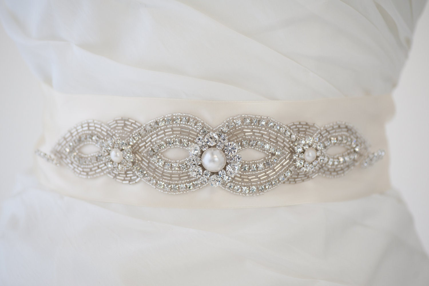 bridal gown sash wedding dress sash rhinestone by