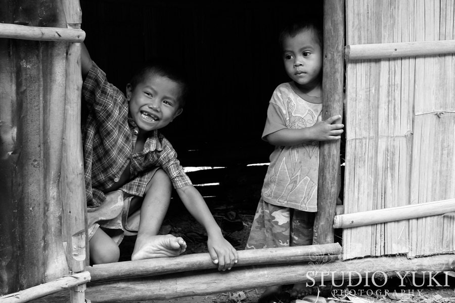 Laos Travel Photography, Children Playing, Two Boys, Fine Art Photography, Ethnic, Global, Black and White - Sons of Summer - StudioYuki