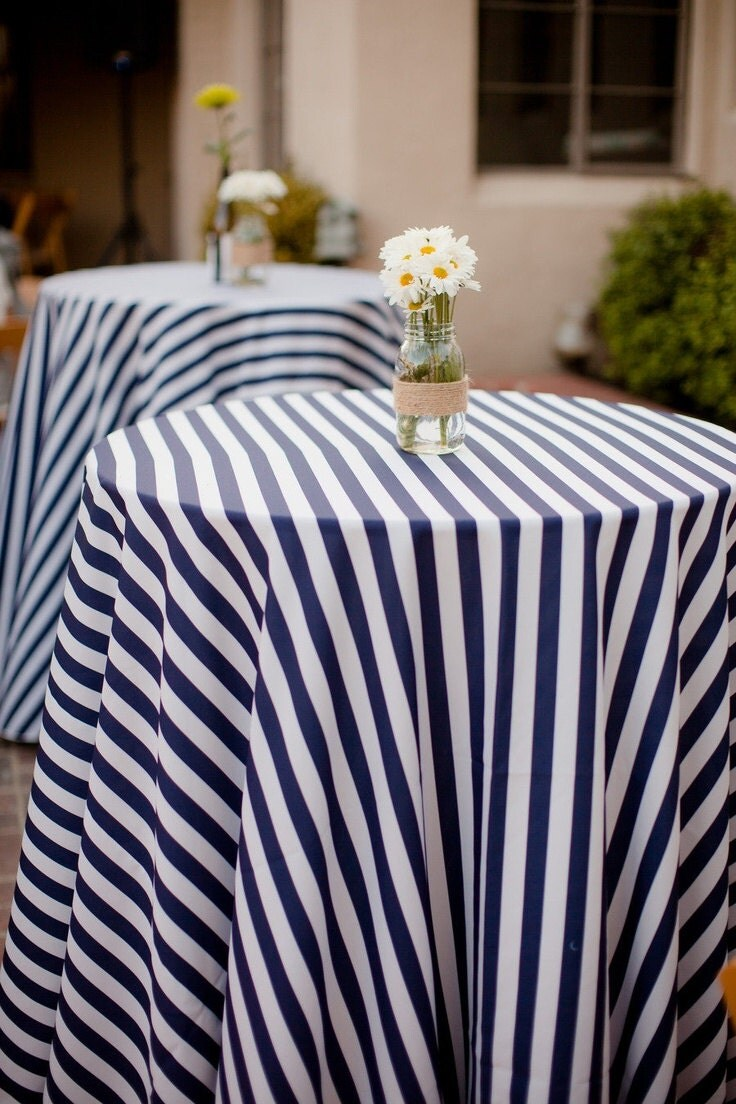 90inch Round Striped Tablecloth