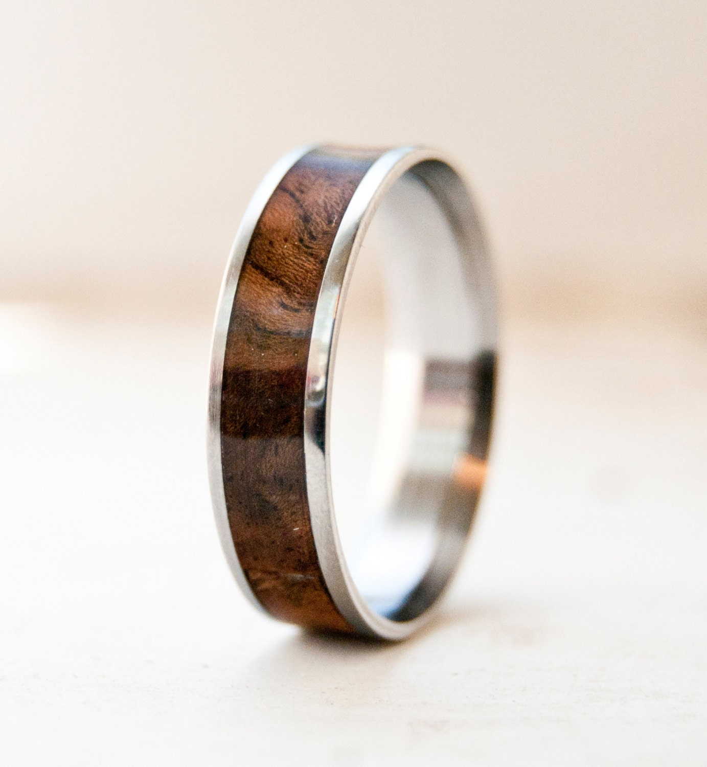 mens wood wedding band titanium ring or silver by. Black Bedroom Furniture Sets. Home Design Ideas
