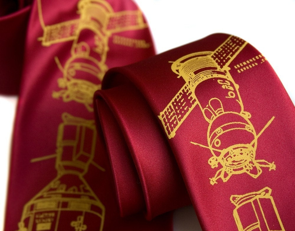 Cosmonaut tie, Apollo-Soyuz red necktie - Soviet Red edition. Choose standard or narrow width. - Cyberoptix