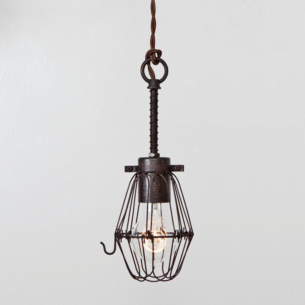 basic wire bulb cage pendant light trouble lamp by