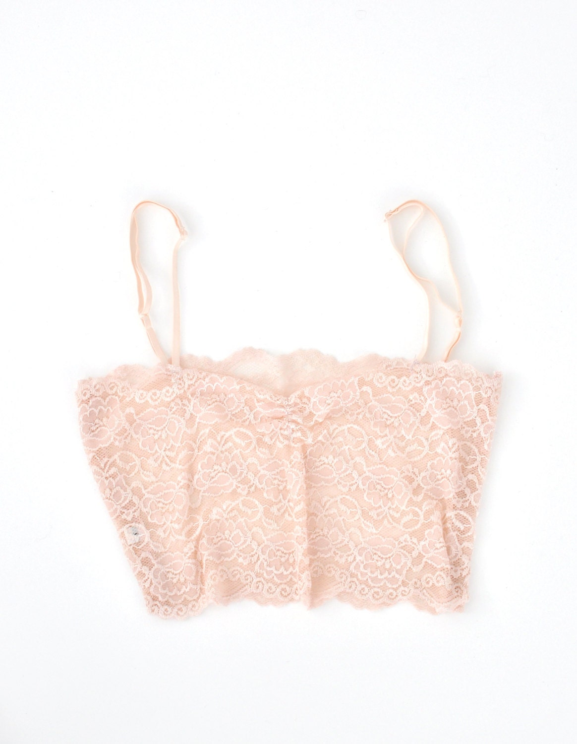 Lace bralette lace camisole White and pink vintage lace Bra, white and pink bralette size  XXS, XS, S, M, L, XL - LittleWhiteCloset