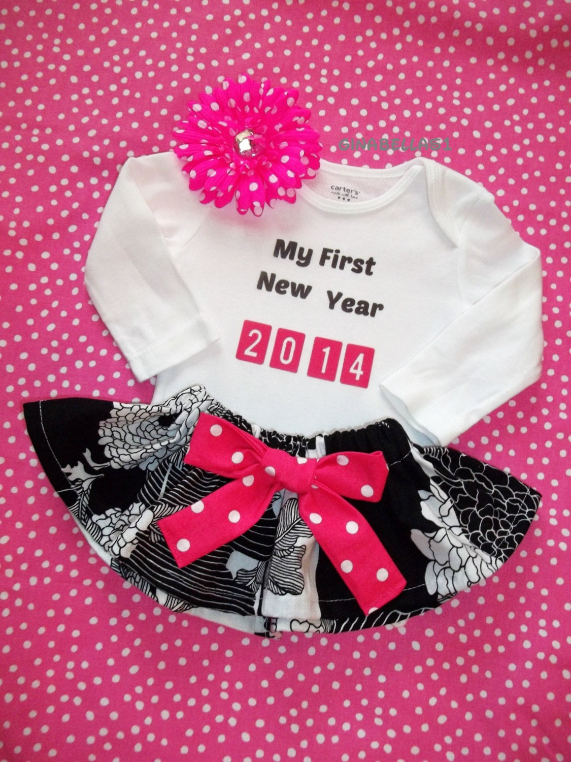 Onesie baby girl boy 2014 body suit 1st christmas pink black dress