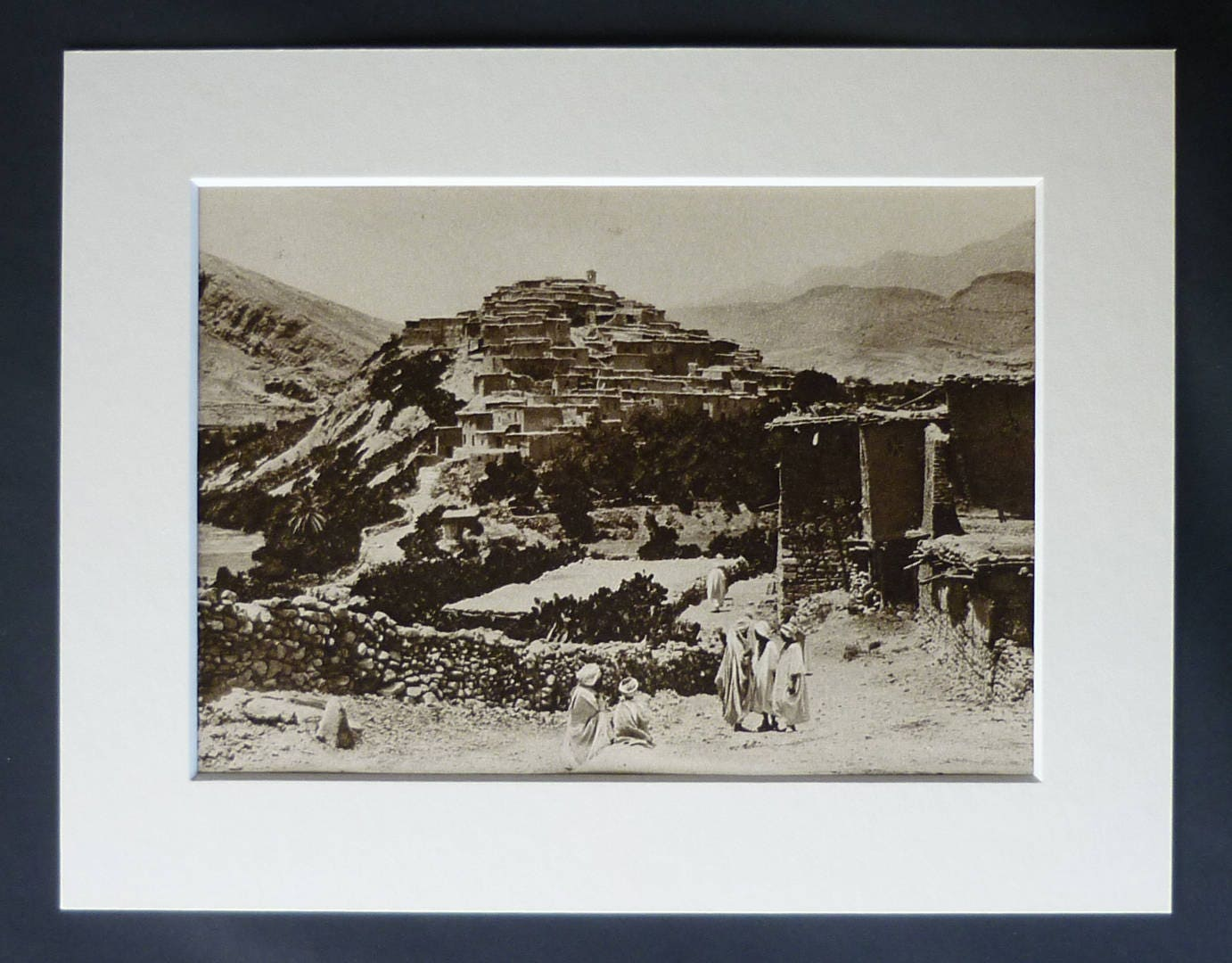 1920s Antique Algerian Print of Menaa Available Framed Algeria Art Atlas Mountain Decor Aurs Mountains Gift North African Photography