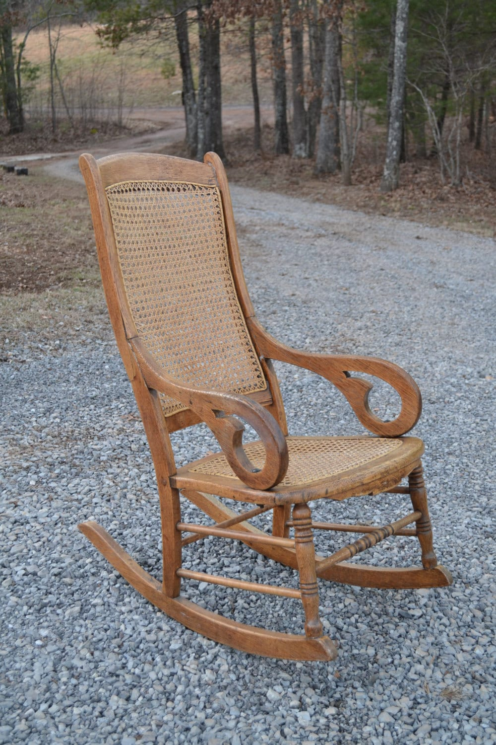 oak rocking chair cane back and seat antique vintage rocker wood