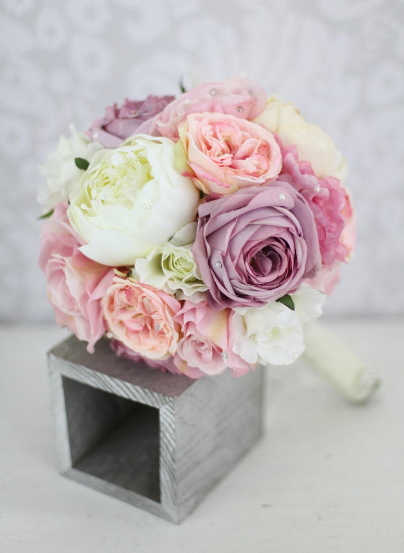Pink Purple And Cream Wedding Flowers Silk Bride Bouquet Peony By Braggingbags