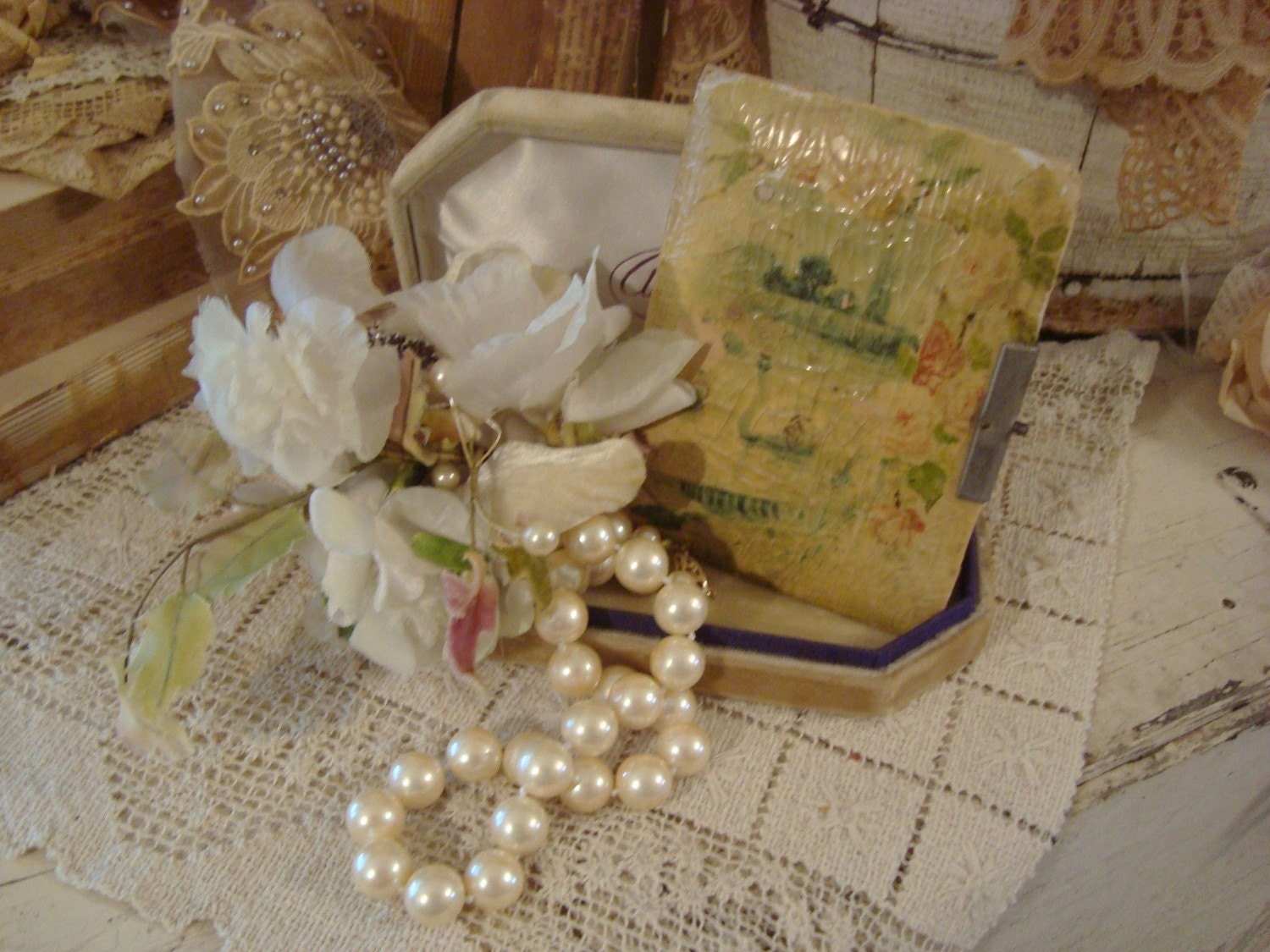 SALE Vintage Shabby Vignette Frenchy Millinery Pearls Jewel