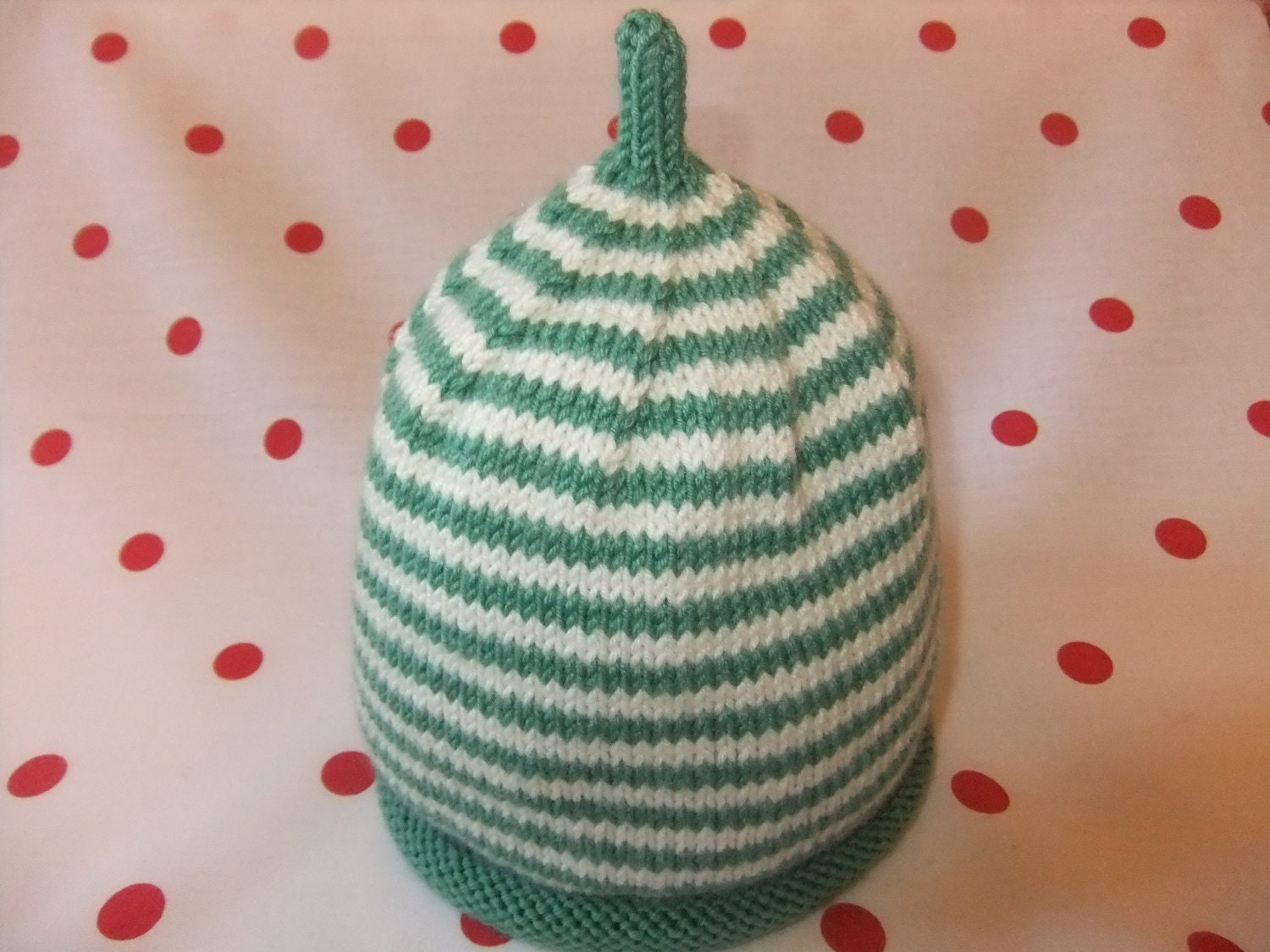 Hand knitted green and cream stripey baby beanie hat   39 months