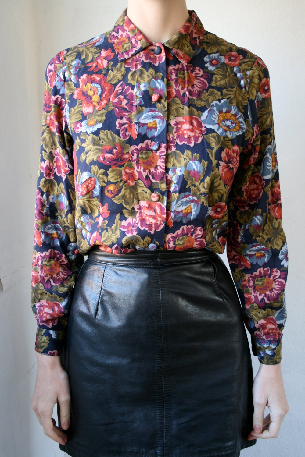 Dark floral cotton button-down blouse