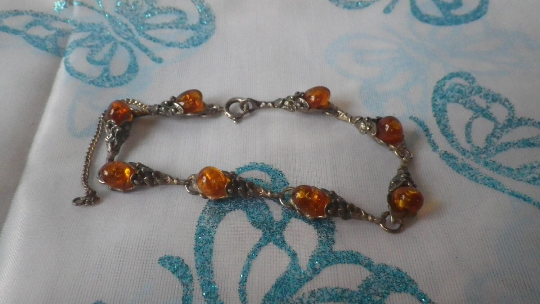 Sterling Silver Pressed Amber Ornate Bracelet Bangle