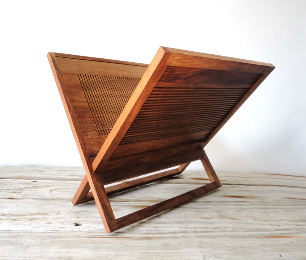 Wood Magazine Rack ~ Modern wood magazine rack by gallivantinggirls on etsy