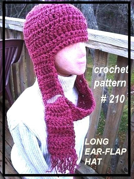 Free Crochet Pattern For Hat With Ear Flaps For Adults : CROCHET PATTERN hat number 218 Magenta Long Ear Flap by ...