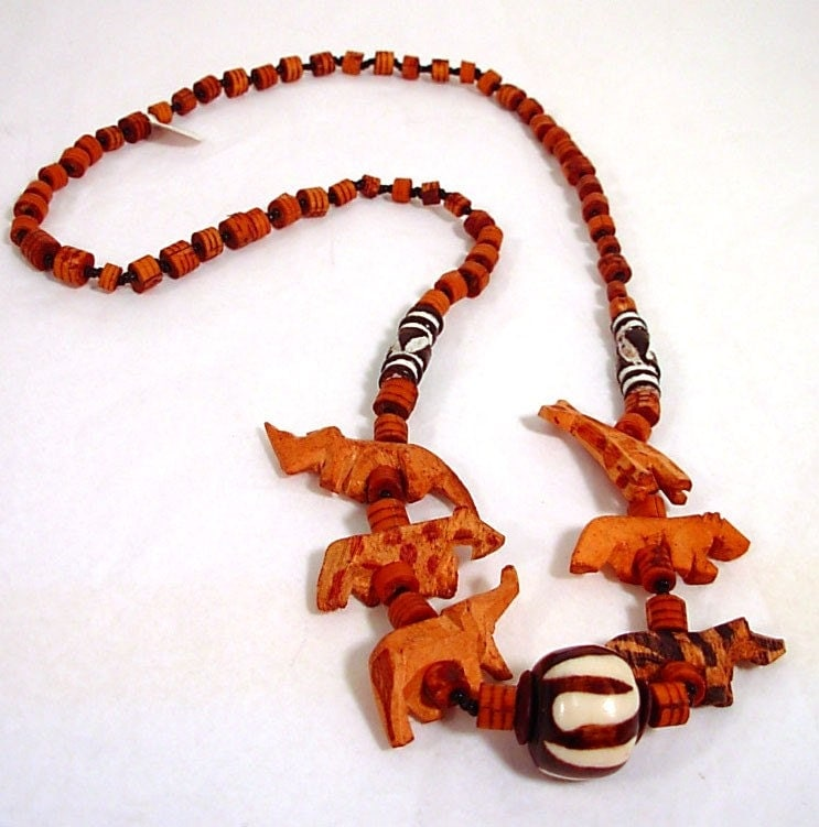 Carved Wooden African Animal Necklace By Kokorokoko On Etsy