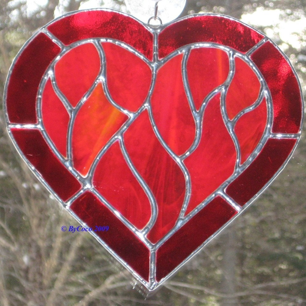 Stained Glass Heart Suncatcher Red Flames of Passion - ByCoco