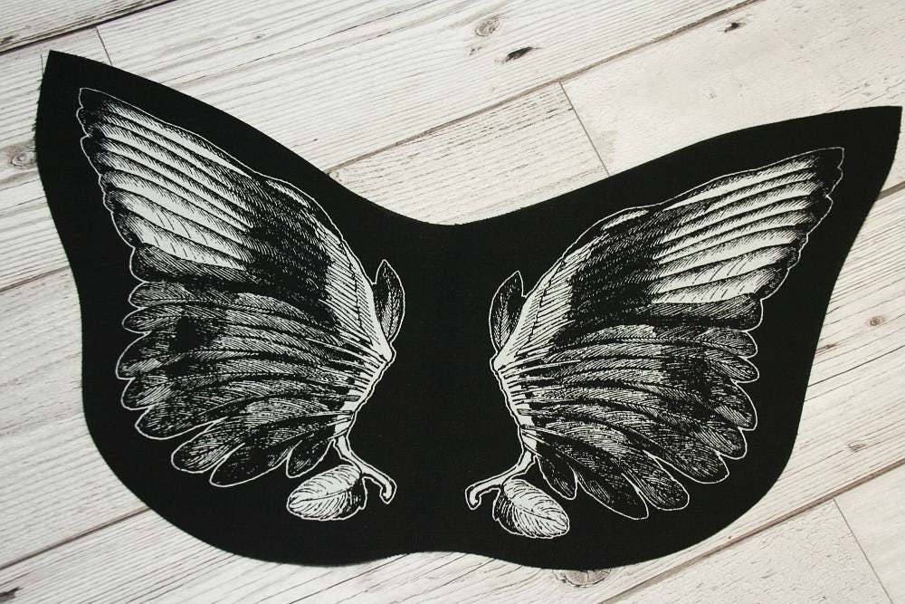 Wings back patch  punk back patch nu goth patch occult patch pagan patch screen print patch witchy clothing angel wings devil wings