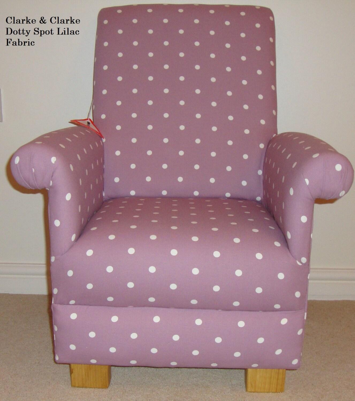 Clarke  Clarke Dotty Spot Fabric Child Chair Lilac Blue Pink Purple Green Kids Nursery Armchair Toddler Polka Dot Shabby Chic