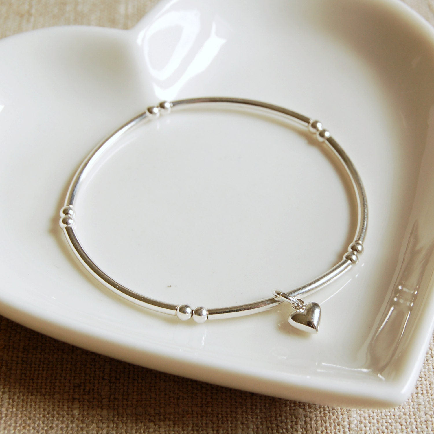 Sterling Silver Bracelet with Tiny Silver Heart Charm (BRA108)  Bridesmaid Birthday Anniversary Valentines Gift