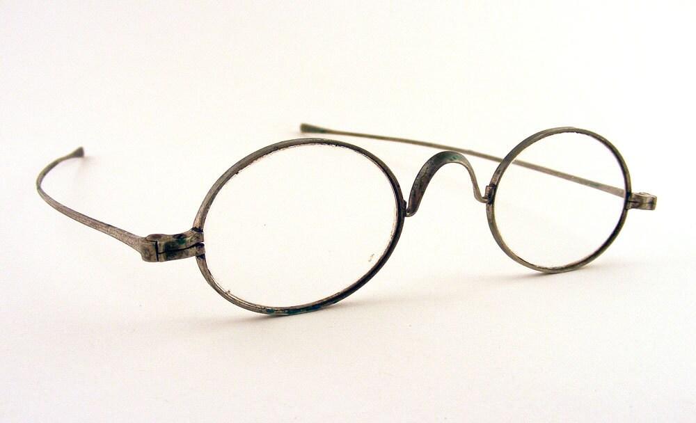 Wire Frame Glasses Vintage : Antique Eye Glasses Wire Frame Oval Lenses Granny by TidBitz